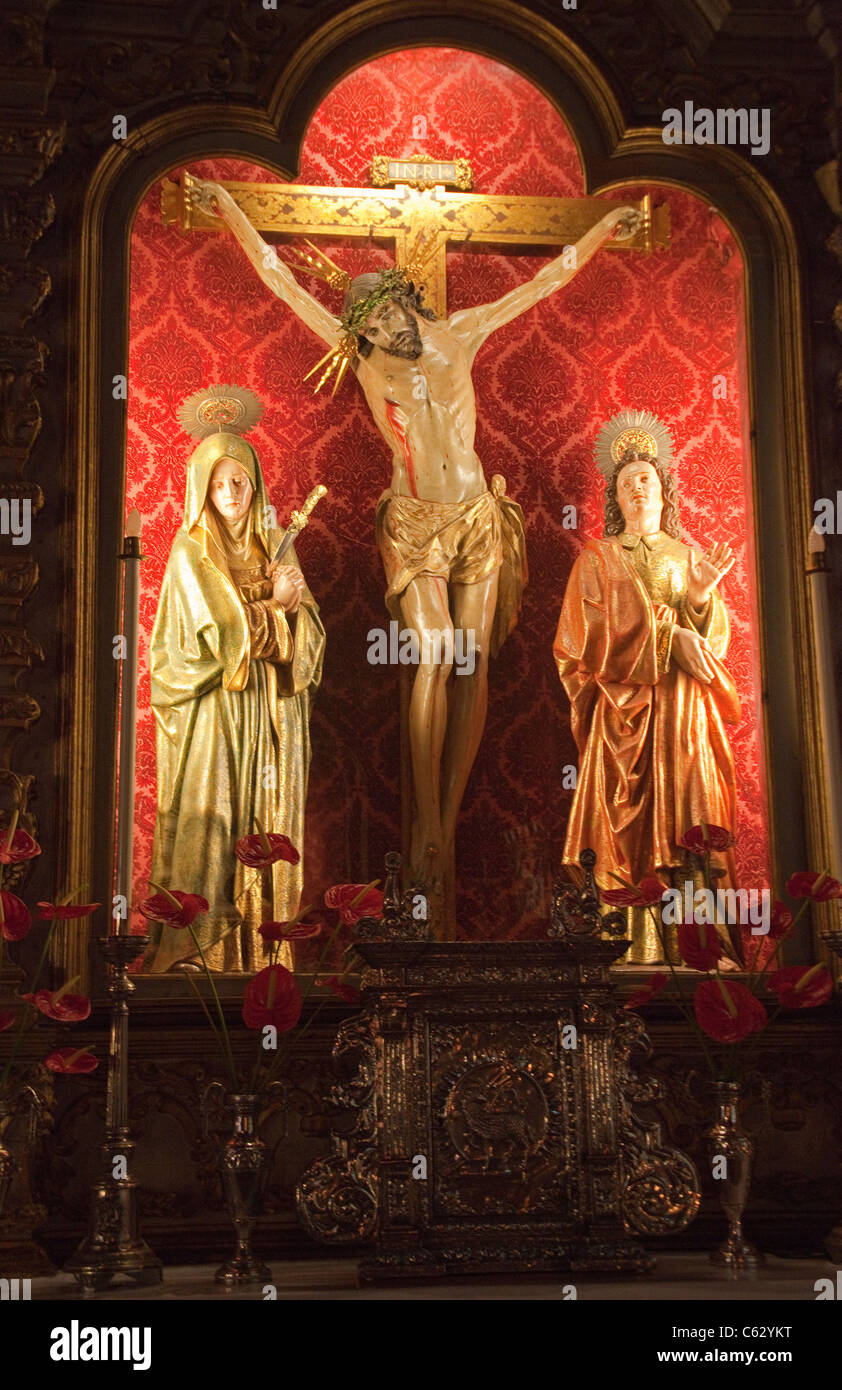 Crucifixion scene, holy statues in the church Virgin of snow, Las Nieves, Santa Cruz de La Palma, La Palma, Canary - Stock Image