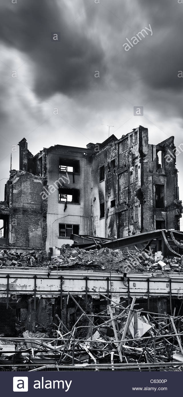 Fire damaged building, Southsea Portsmouth - Stock Image