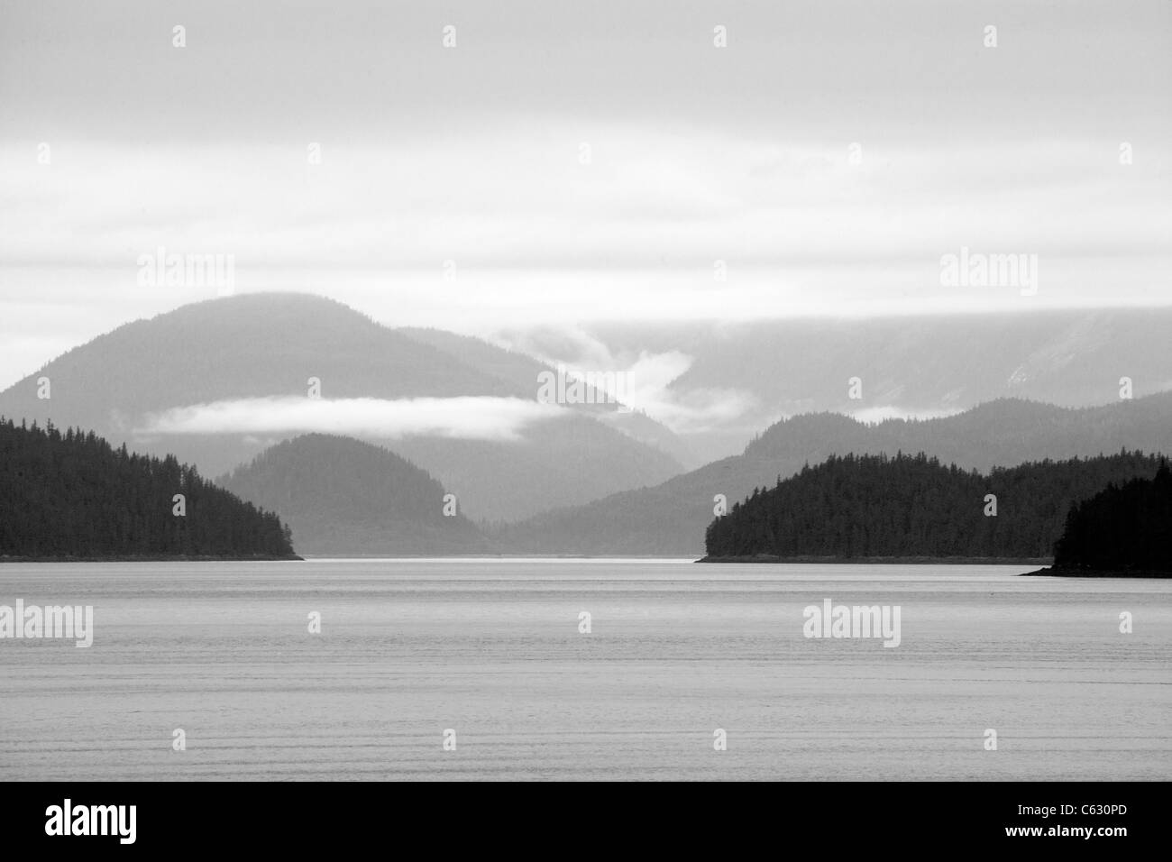 Black and White of Alaskan Inside Passage Scenery - Stock Image