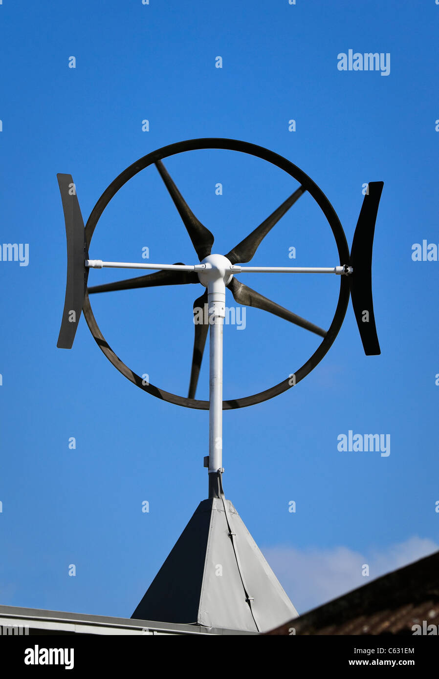 A roof mounted wind turbine in London, England - Stock Image