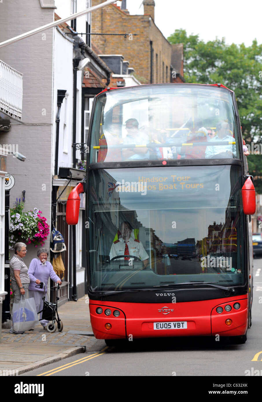 Tourist sightseeing bus, Eton, Berkshire, Britain, UK - Stock Image