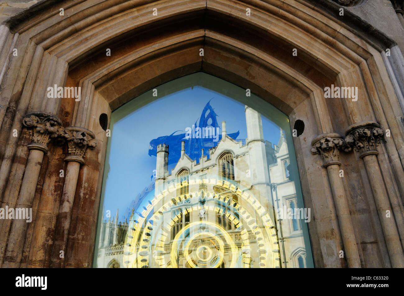 The Corpus Christi Clock with Reflection of King's College, Cambridge, England, UK - Stock Image