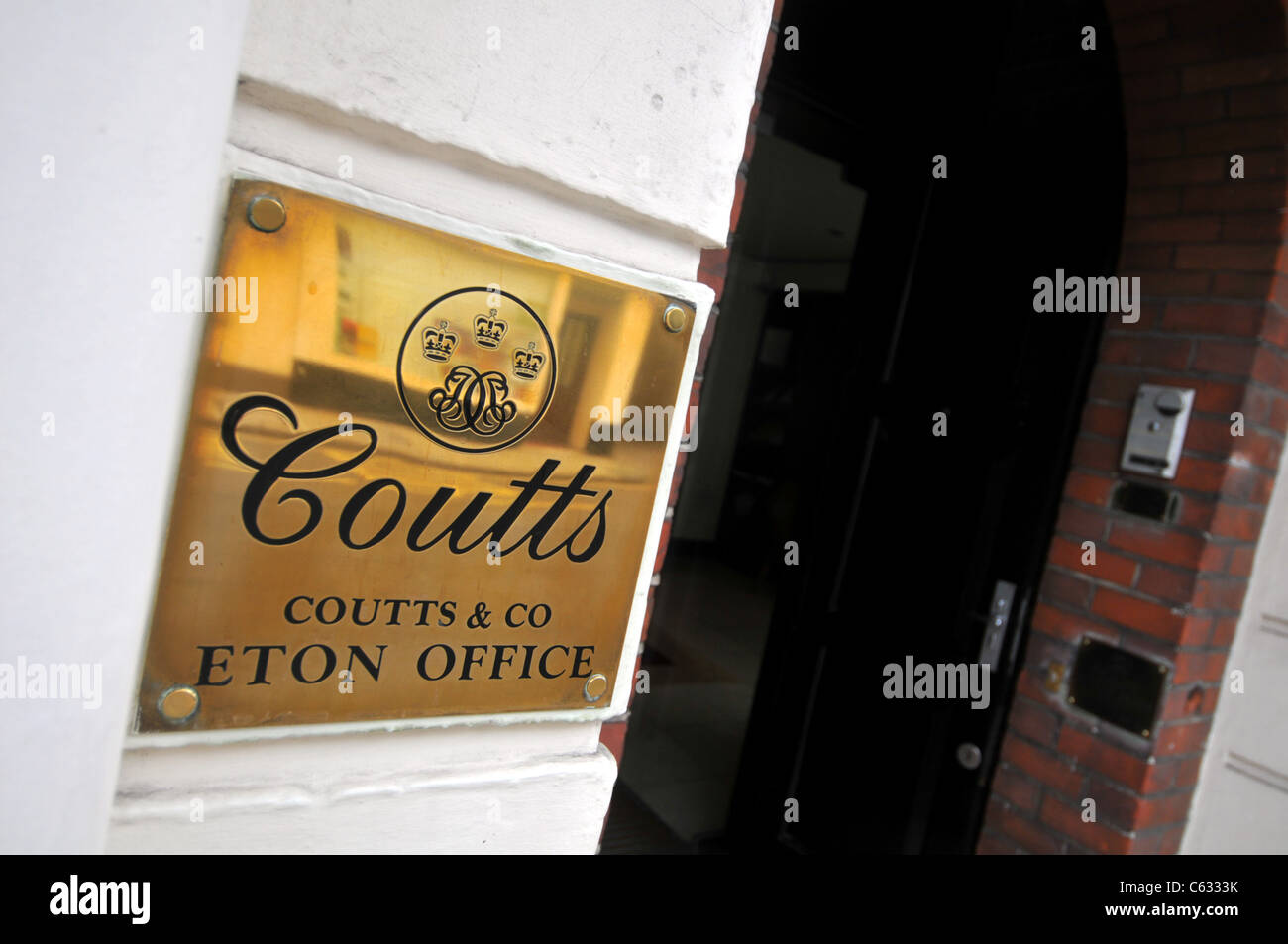 Coutts & Co, private bank, Eton, Windsor, Berkshire, Britain, UK - Stock Image
