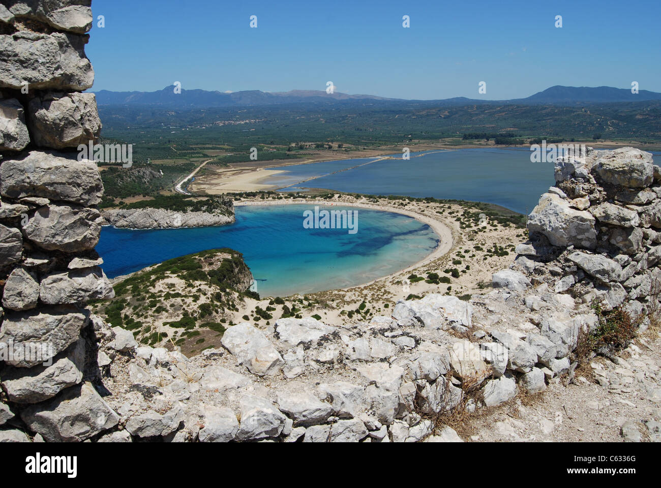 View of Voidokilia Bay from the wall of the Old Frankish castle (Paliokastro) - Stock Image