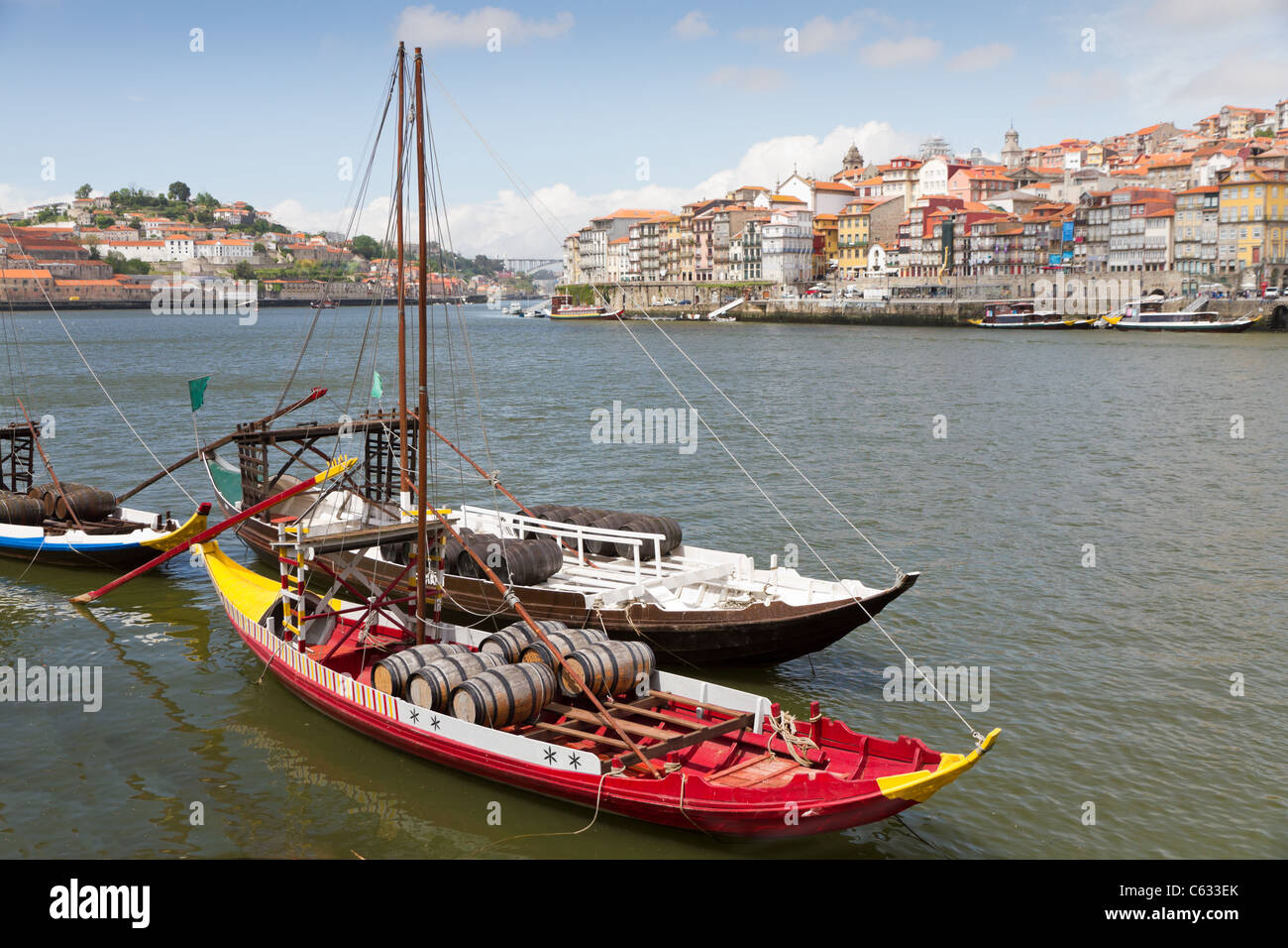 Old Porto at river Duoro with historic Port transporting boats, Oporto, Portugal - Stock Image