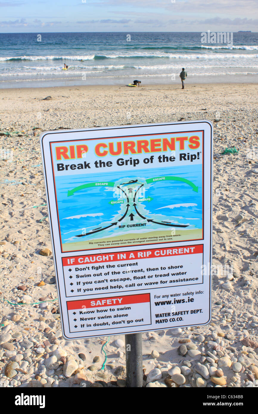 Rip Current warning sign on the beach at Keel, Achill Island, Ireland - Stock Image