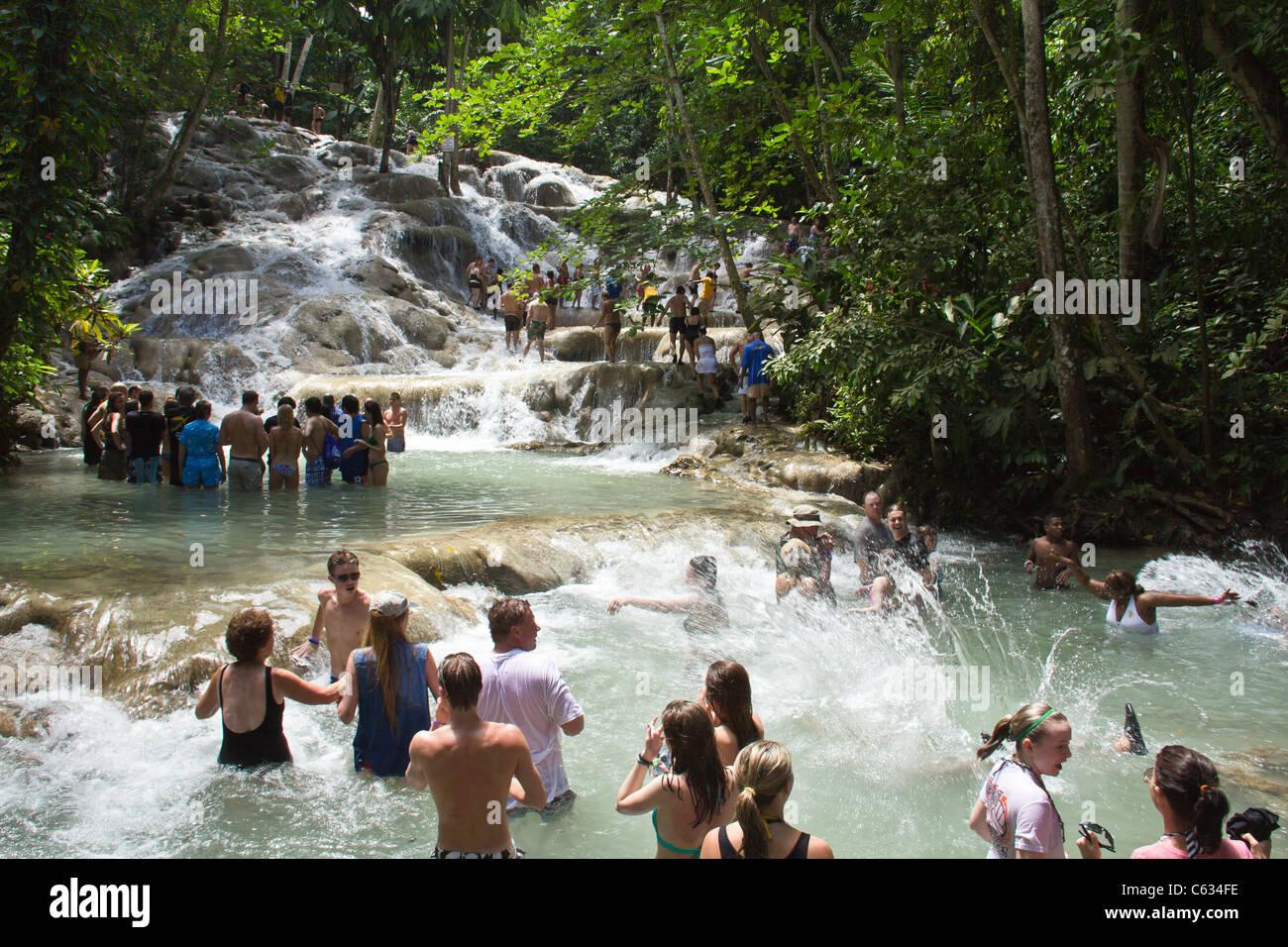 Dunns falls in Ocho Rio, Jamaica - Stock Image