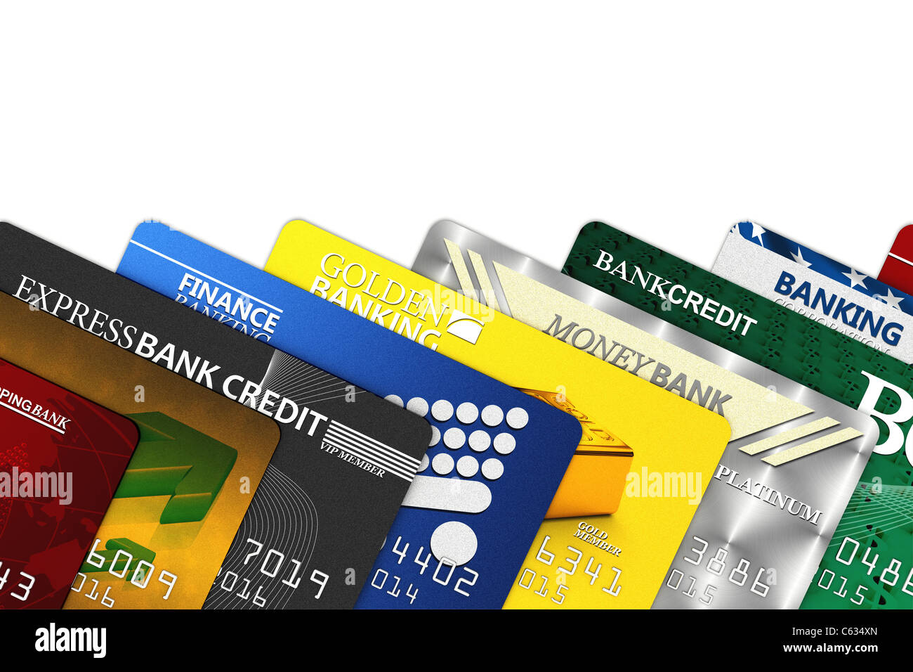 Fake credit cards over white with clipping path - Stock Image