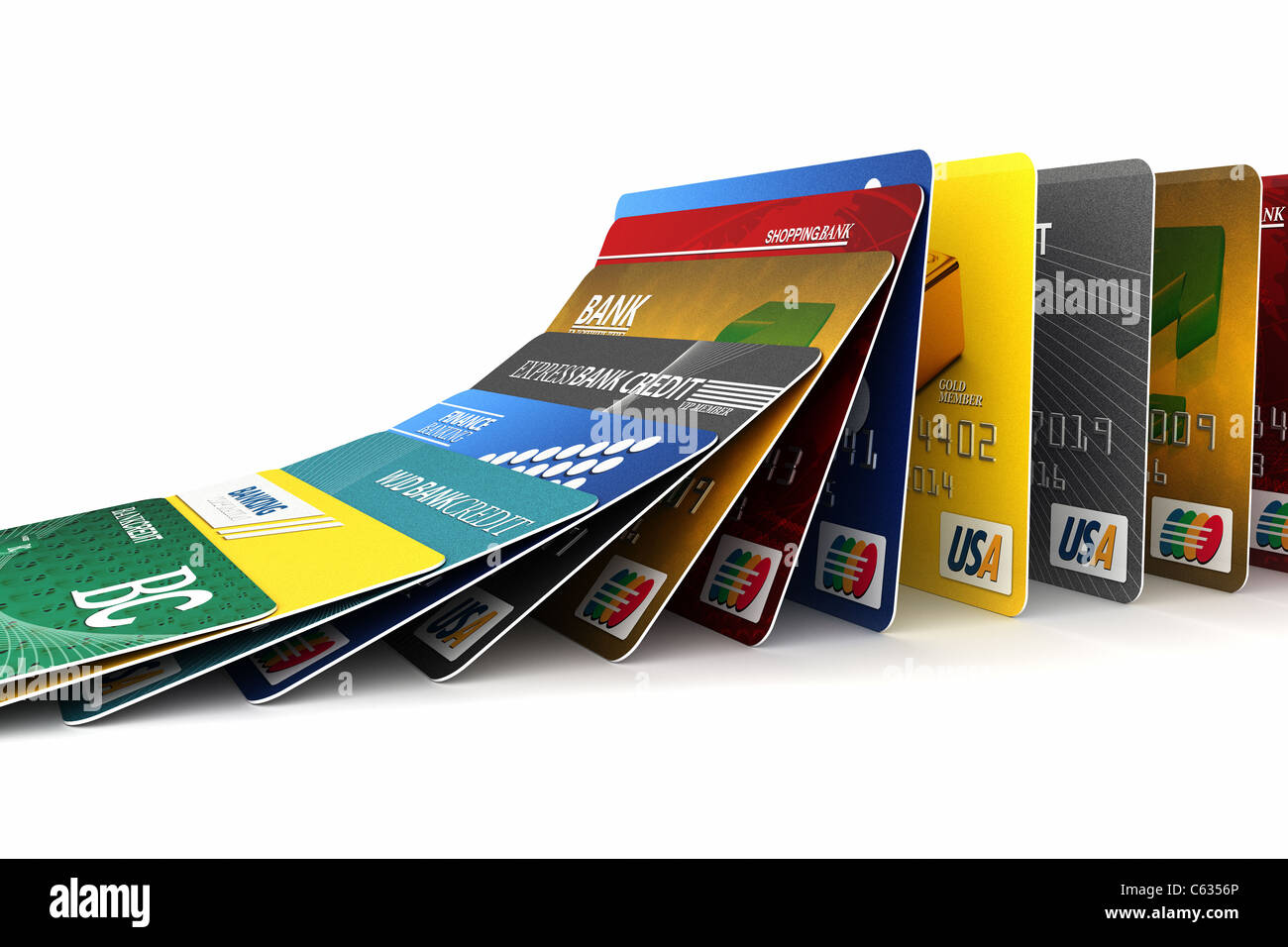 Fake credit cards in a row - Stock Image
