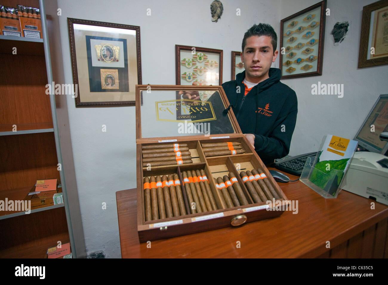 Cigar seller shows fine cigar selection of El Sitio, La Palma, Canary islands, Europe - Stock Image