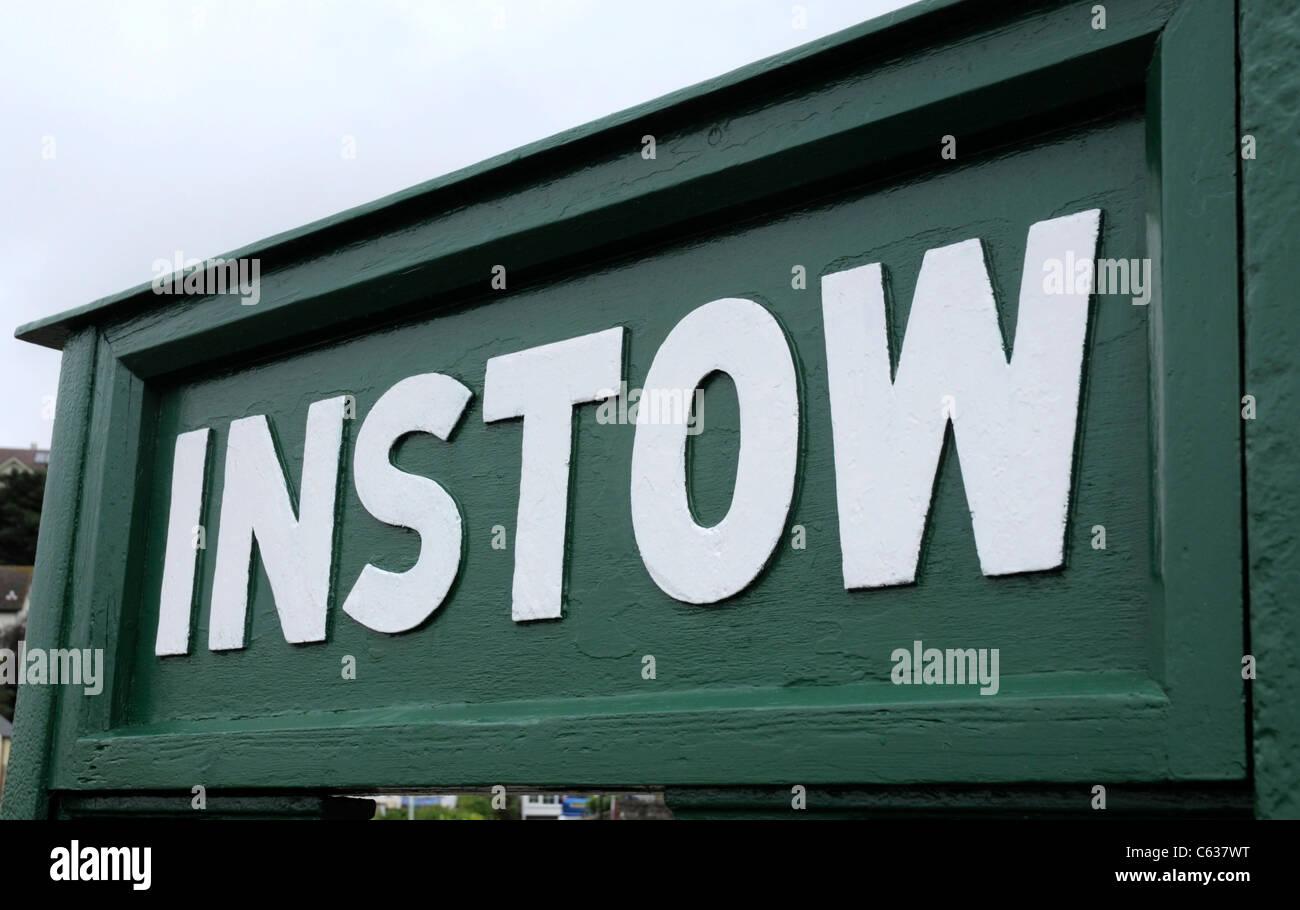 Instow Coastal Village - Green and White Sign, North Devon - Stock Image