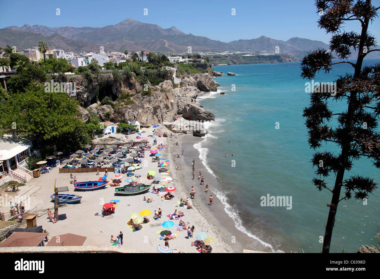 the Beach in the centre of Nerja . Spain - Stock Image