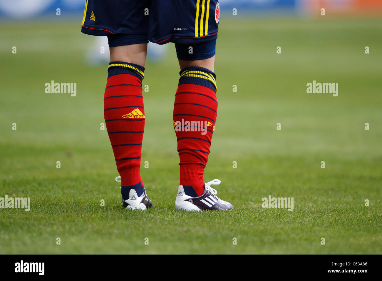Detail of a red and blue clad Columbia player during a FIFA Women's World Cup match against the United States - Stock Image