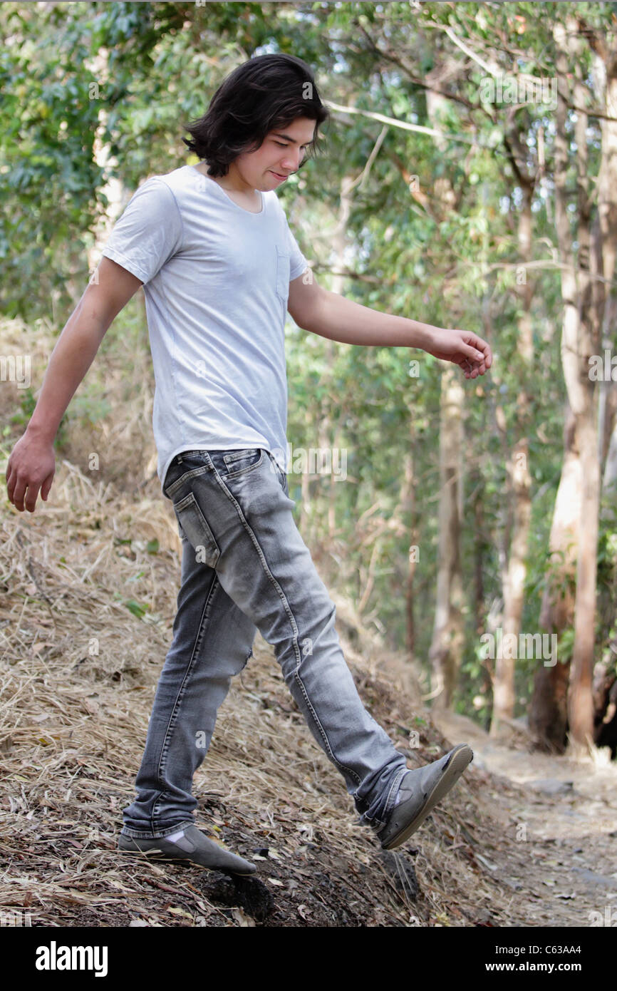 Young man is enjoying nature in the Bushland - Stock Image