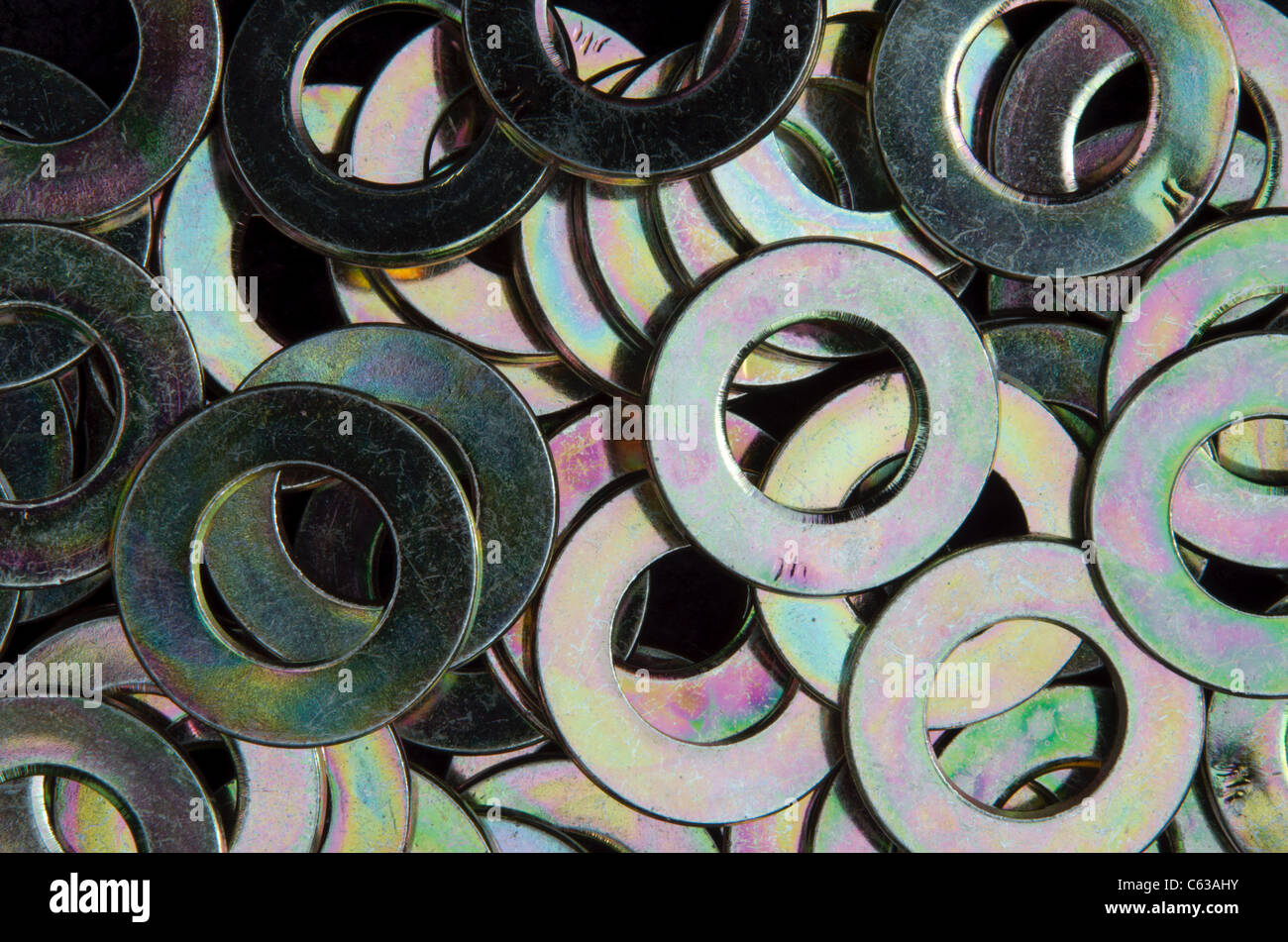 Bunch of washers - Stock Image