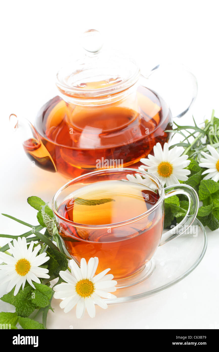 Black Tea,Mint Leaf and Daisy. - Stock Image