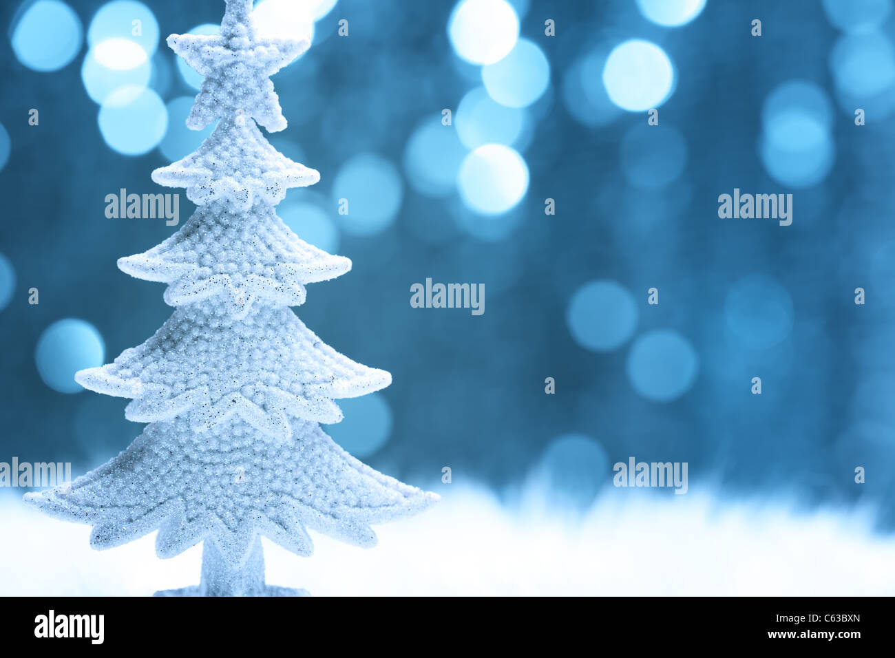 Christmas fir tree model on abstract background.Shallow Dof. - Stock Image