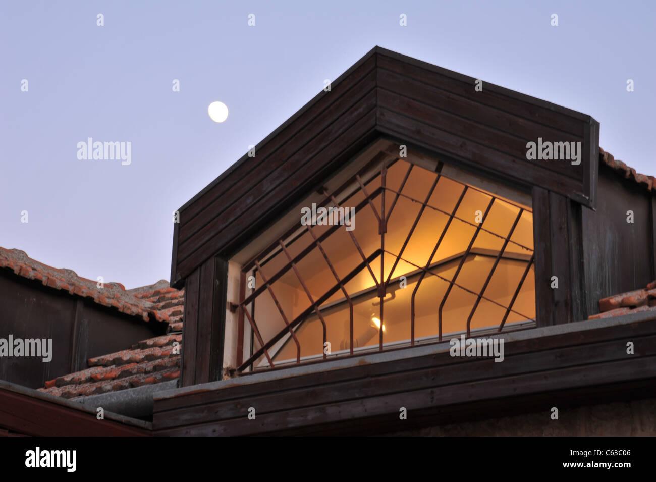 window night moon old style - Stock Image