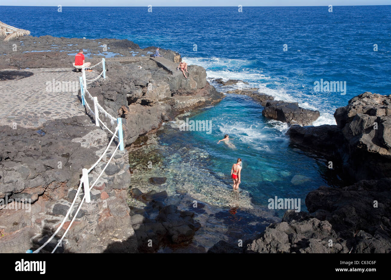 People at natural pool of San Andres, La Palma, Canary islands, Spain, Europe - Stock Image