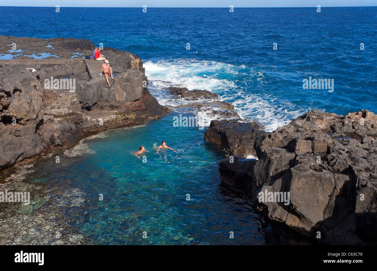 People at a natural pool, San Andres, La Palma, Canary islands, Spain, Europe - Stock Image