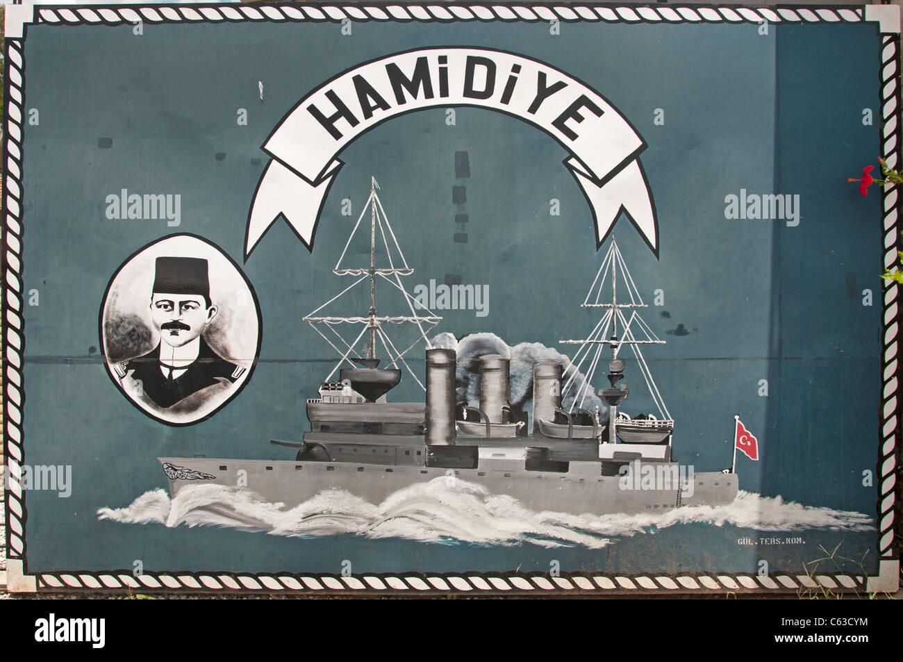 Turkish Ottoman cruiser Hamidiye warship Balkan wars World War I - Stock Image