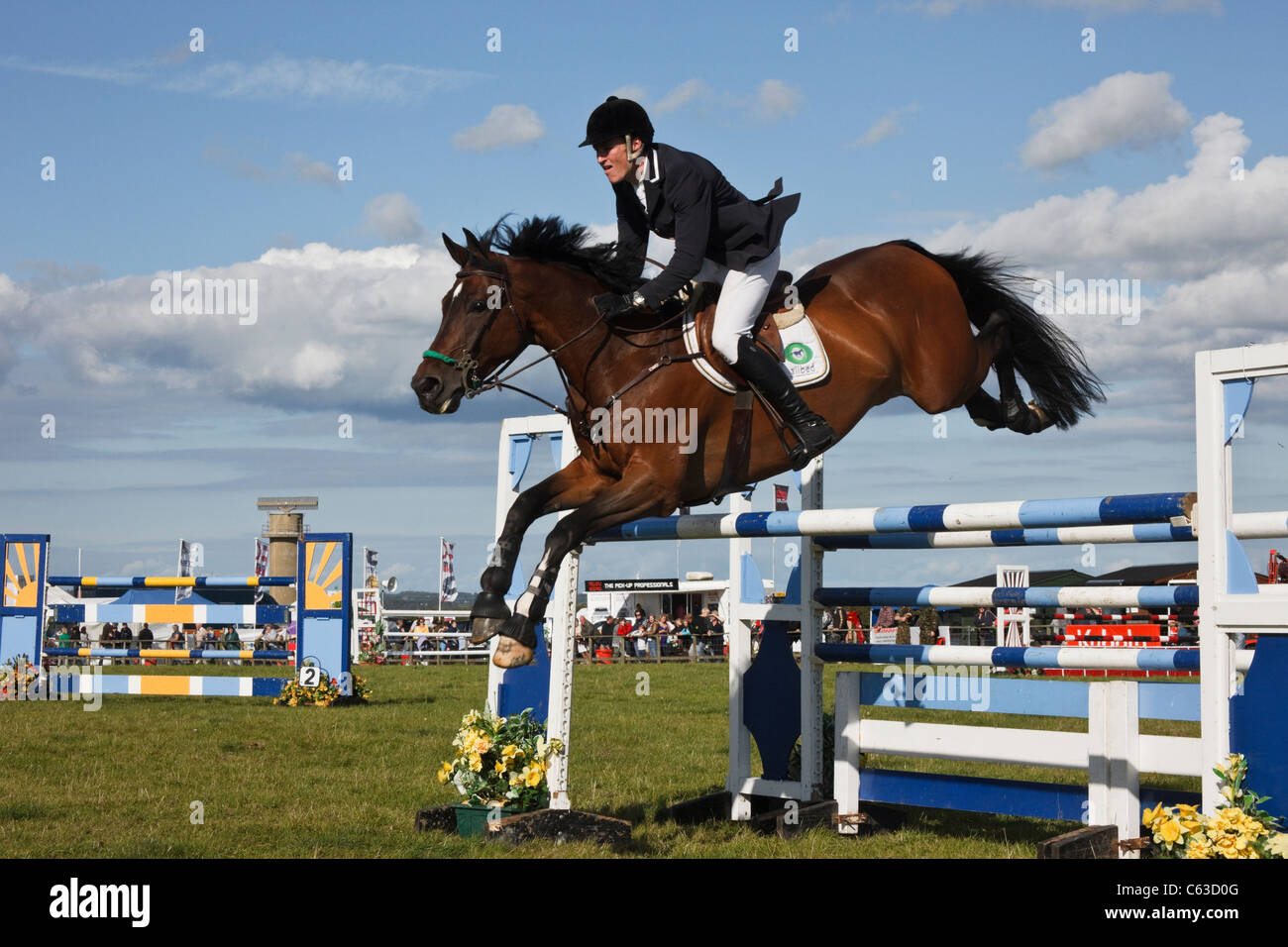 North Wales, UK. International show jumping event with horse and jockey clearing the jumps at Anglesey Show in Mona - Stock Image