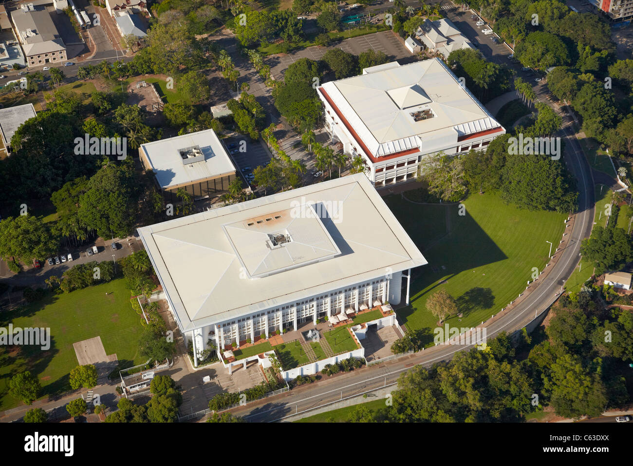 Parliament House, and Supreme Court of the Northern Territory, Darwin, Northern Territory, Australia - aerial - Stock Image