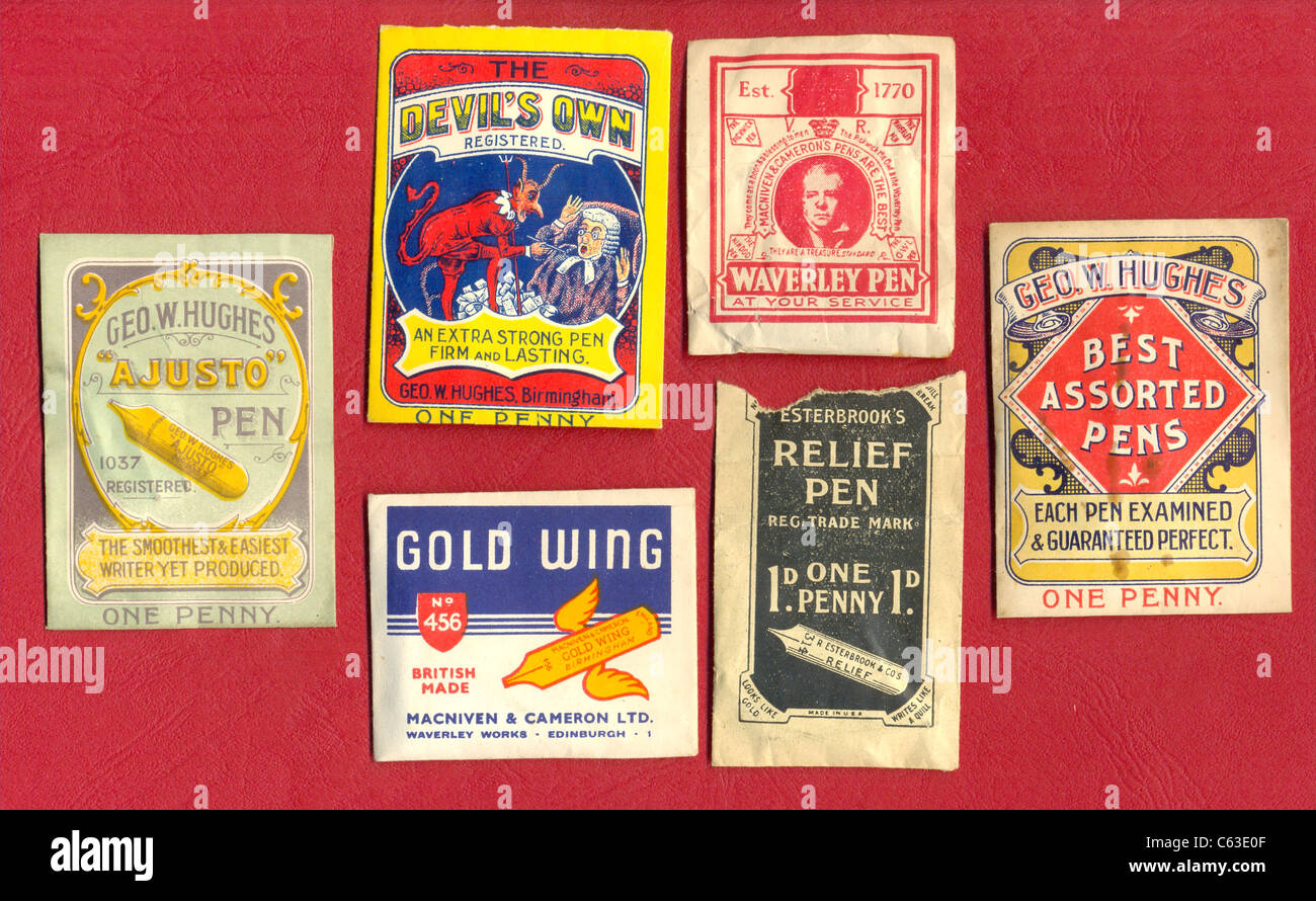 Victorian pen nib packets - Stock Image