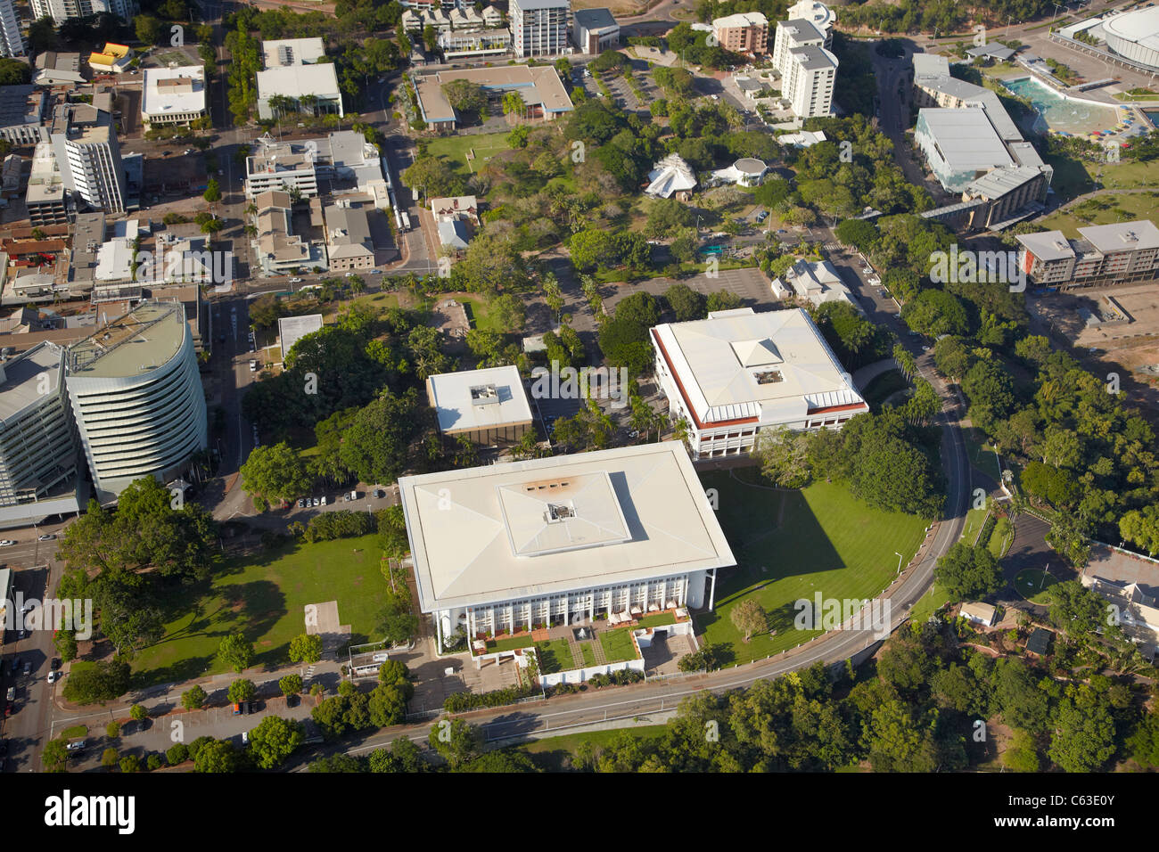 Parliament House, Supreme Court of the Northern Territory, and Civic Square, Darwin, Northern Territory, Australia - Stock Image