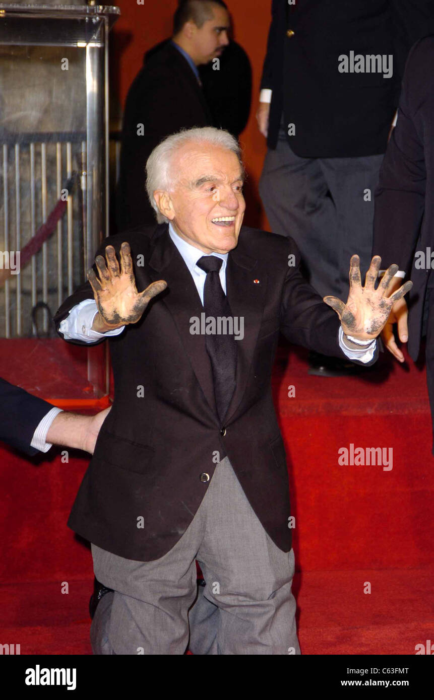 Jack Valenti at a hand and footprint ceremony for Jack Valenti at Grauman's Chinese Theatre, Los Angeles, CA, - Stock Image