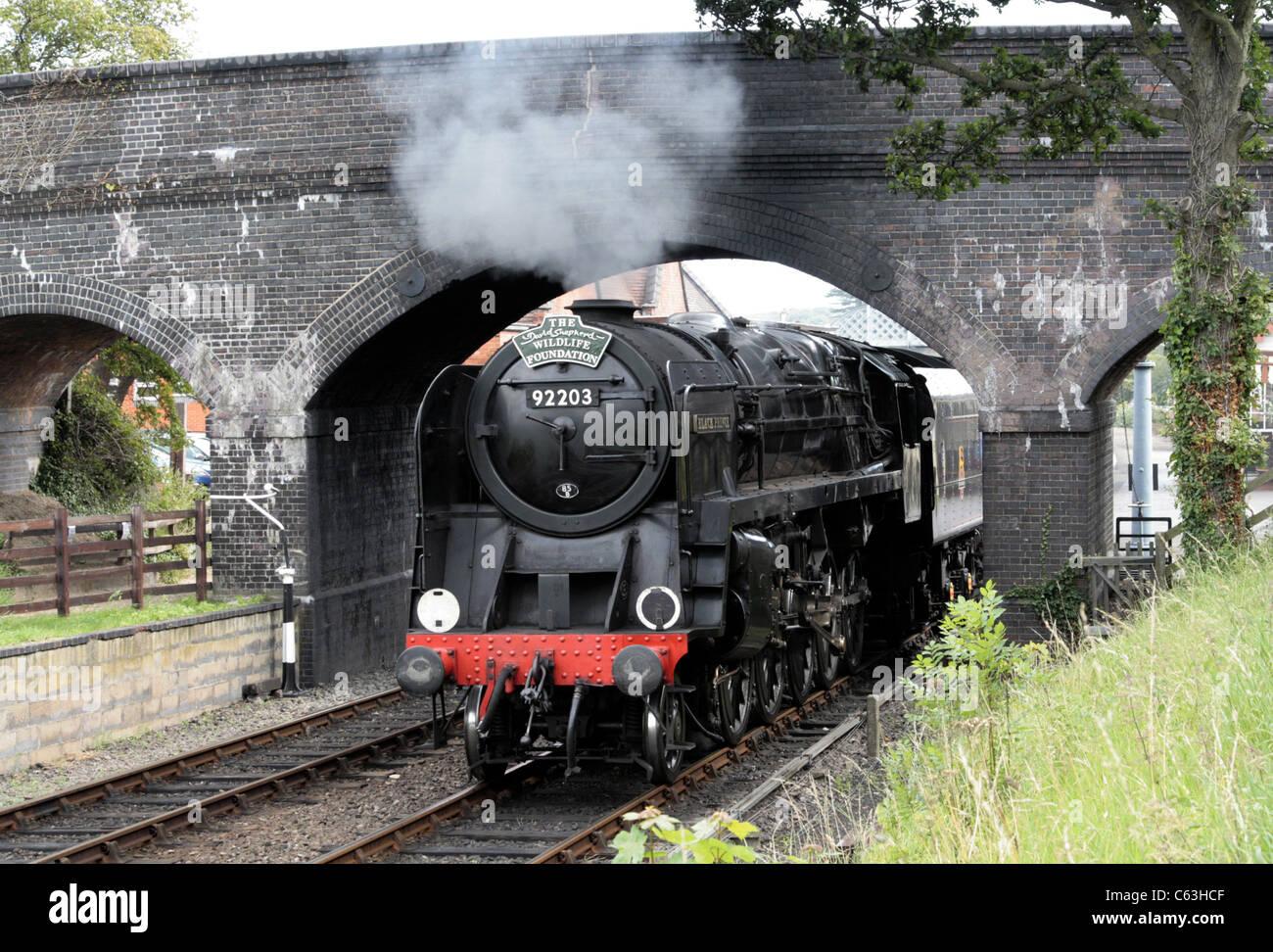 9F 2-10-0 92203 Black Prince.  , North Norfolk Railway, UK.  Weybourne Station. - Stock Image