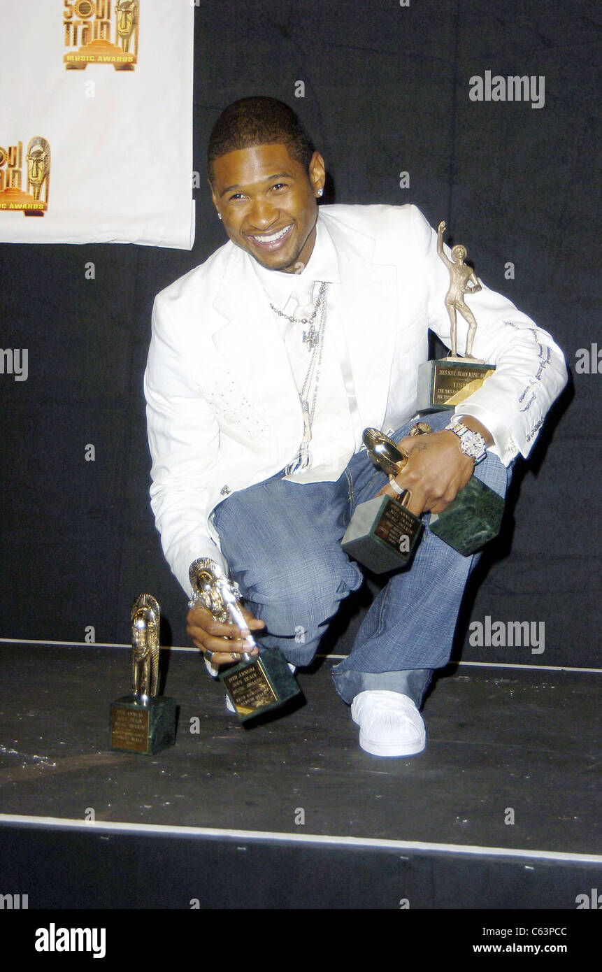 Usher in the press room for 2005 Soul Train Music Awards, Paramount Studios, Los Angeles, CA, Monday, February 28, - Stock Image