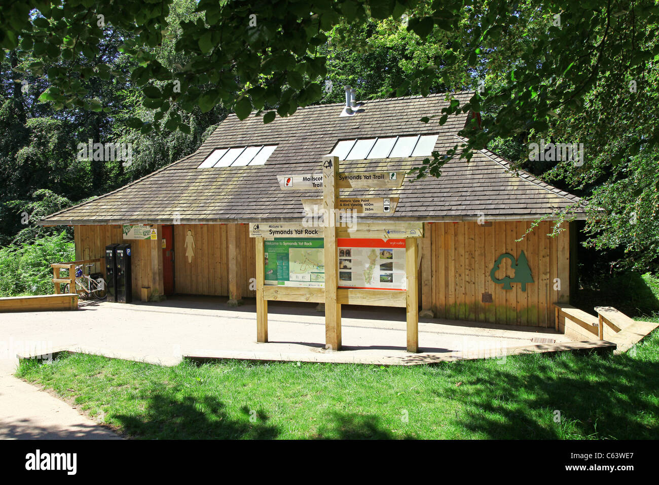 The wooden building of the toilet block at Symonds Yat rock, Herefordshire, England, UK - Stock Image