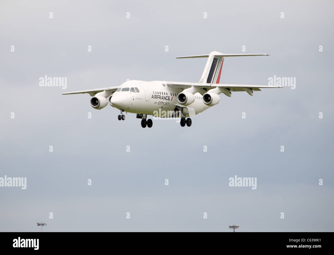 Air france city jet landing at Dublin Airport Stock Photo