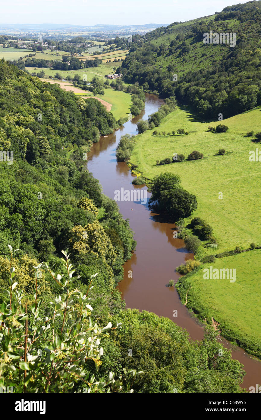 River Wye Valley from Symonds Yat rock, Herefordshire, England, UK - Stock Image