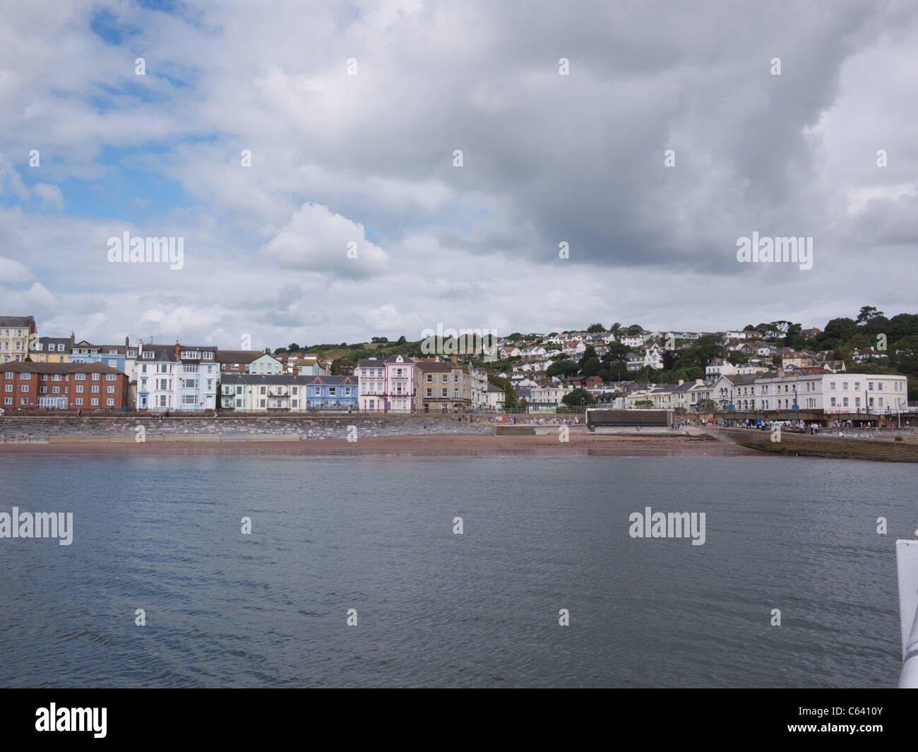 Dawlish Seafront from the sea - Stock Image