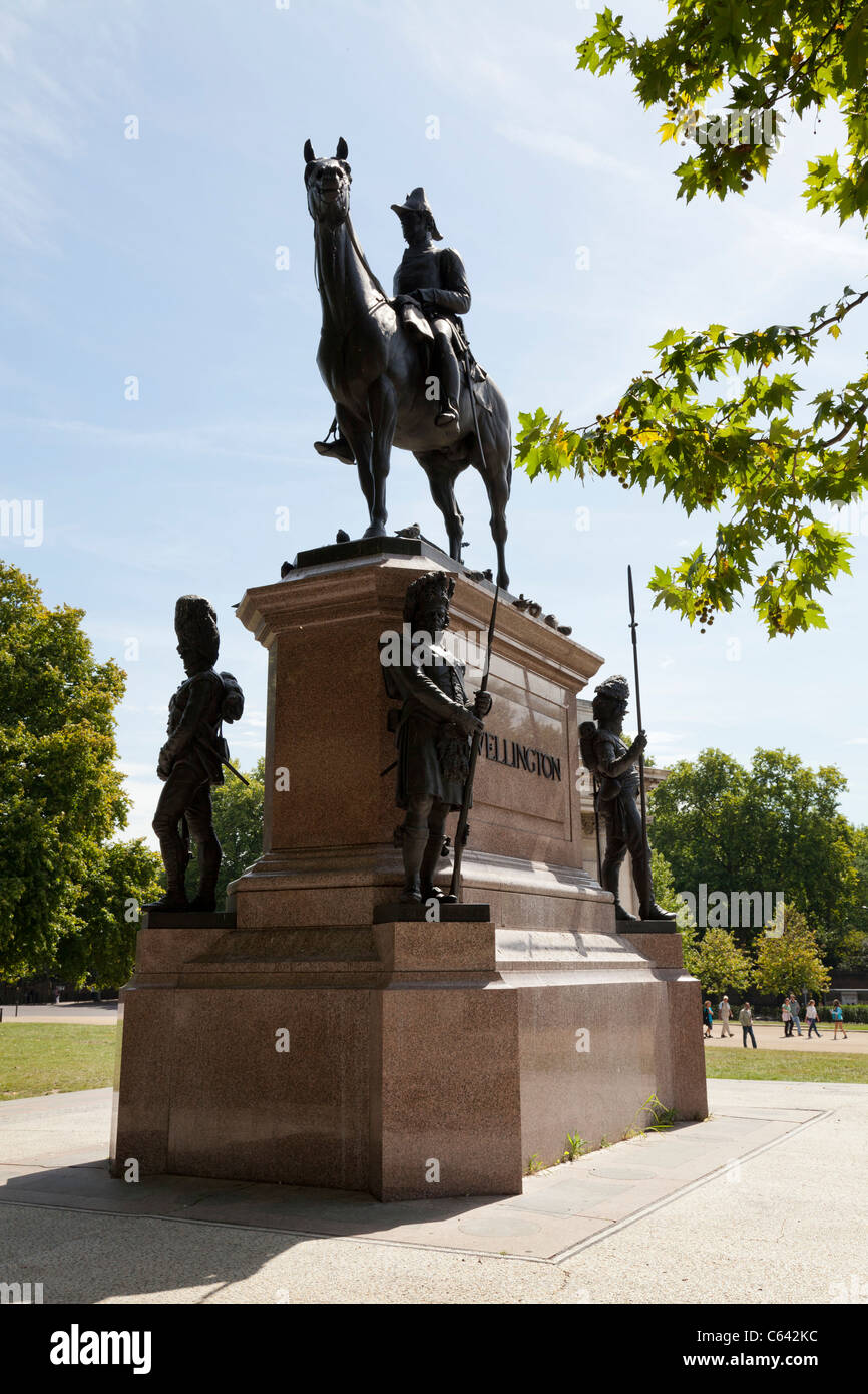 Statue of the Duke of Wellington at Hyde Park Corner - Stock Image