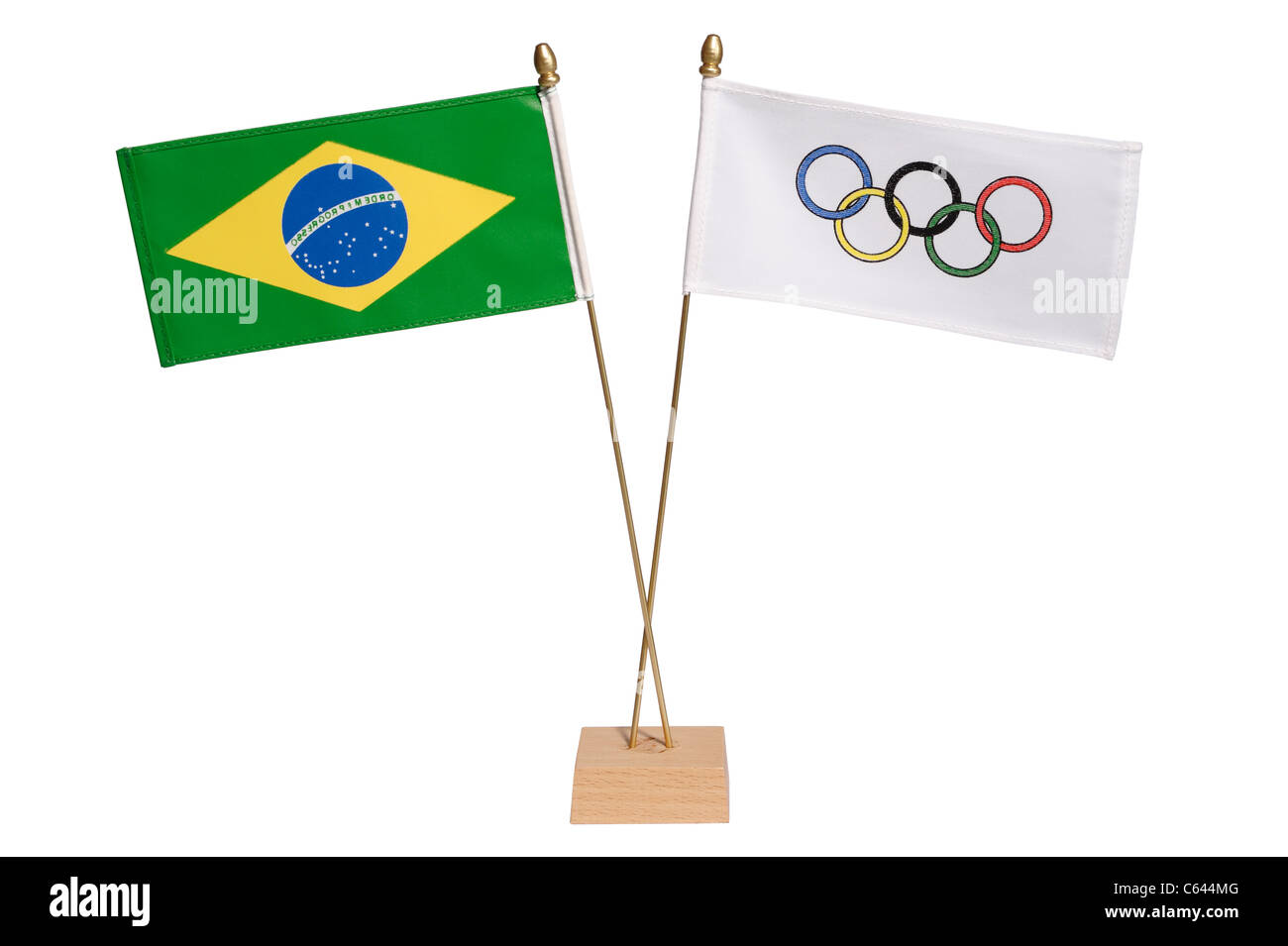 Brazil and Olympic flags - Stock Image