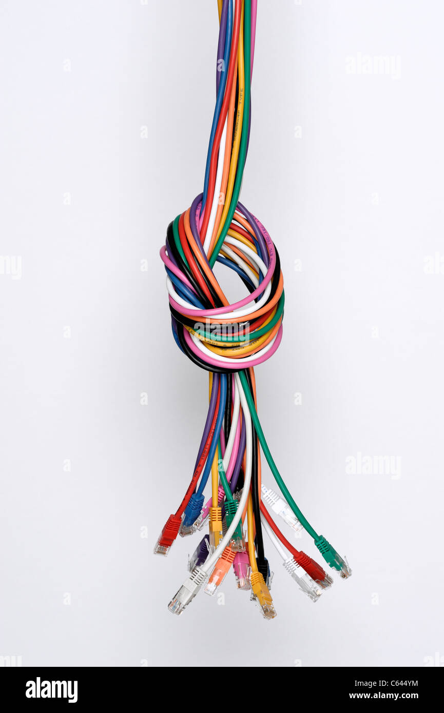 Coloured computer network cables Stock Photo: 38200392 - Alamy