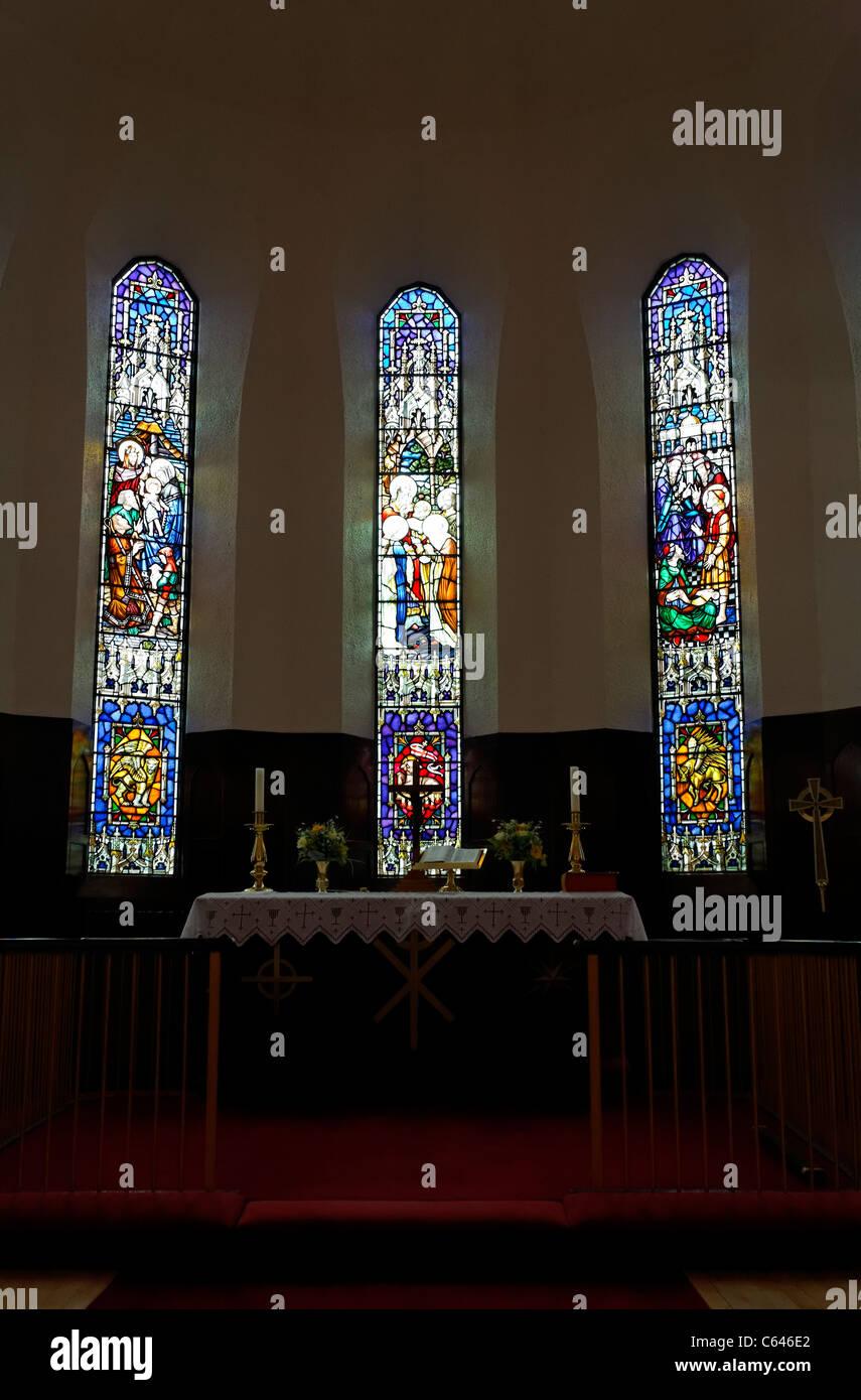 Stained glass windows at the Akureyrarkirkja church, Akureyri, Iceland Stock Photo