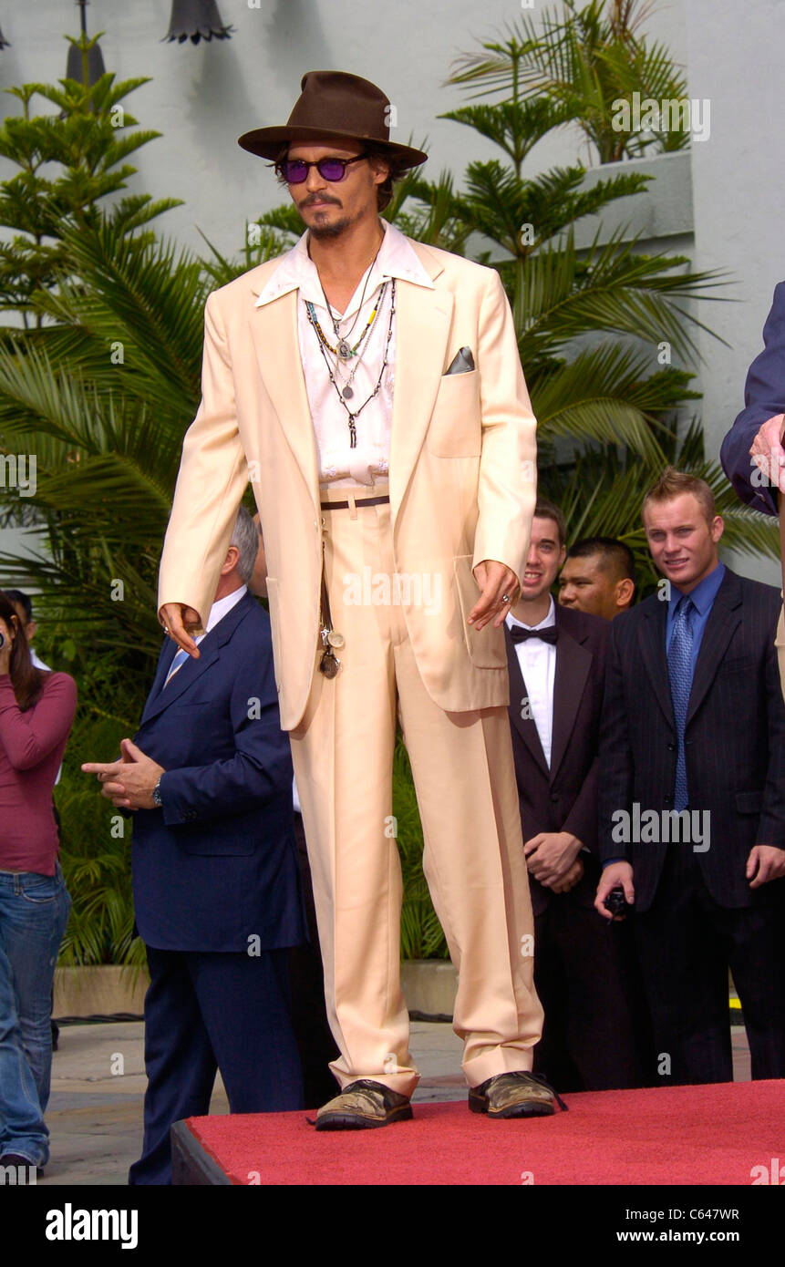 Johnny Depp at the press conference for Handprint & Footprint Ceremony for Johnny Depp, Grauman's Chinese - Stock Image