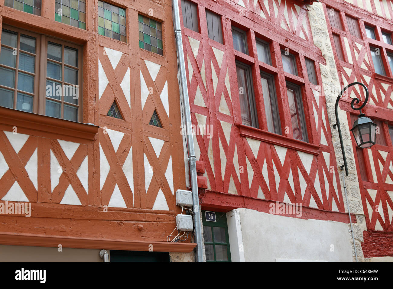 Half timbered buildings, Orleans, Loiret, France. - Stock Image