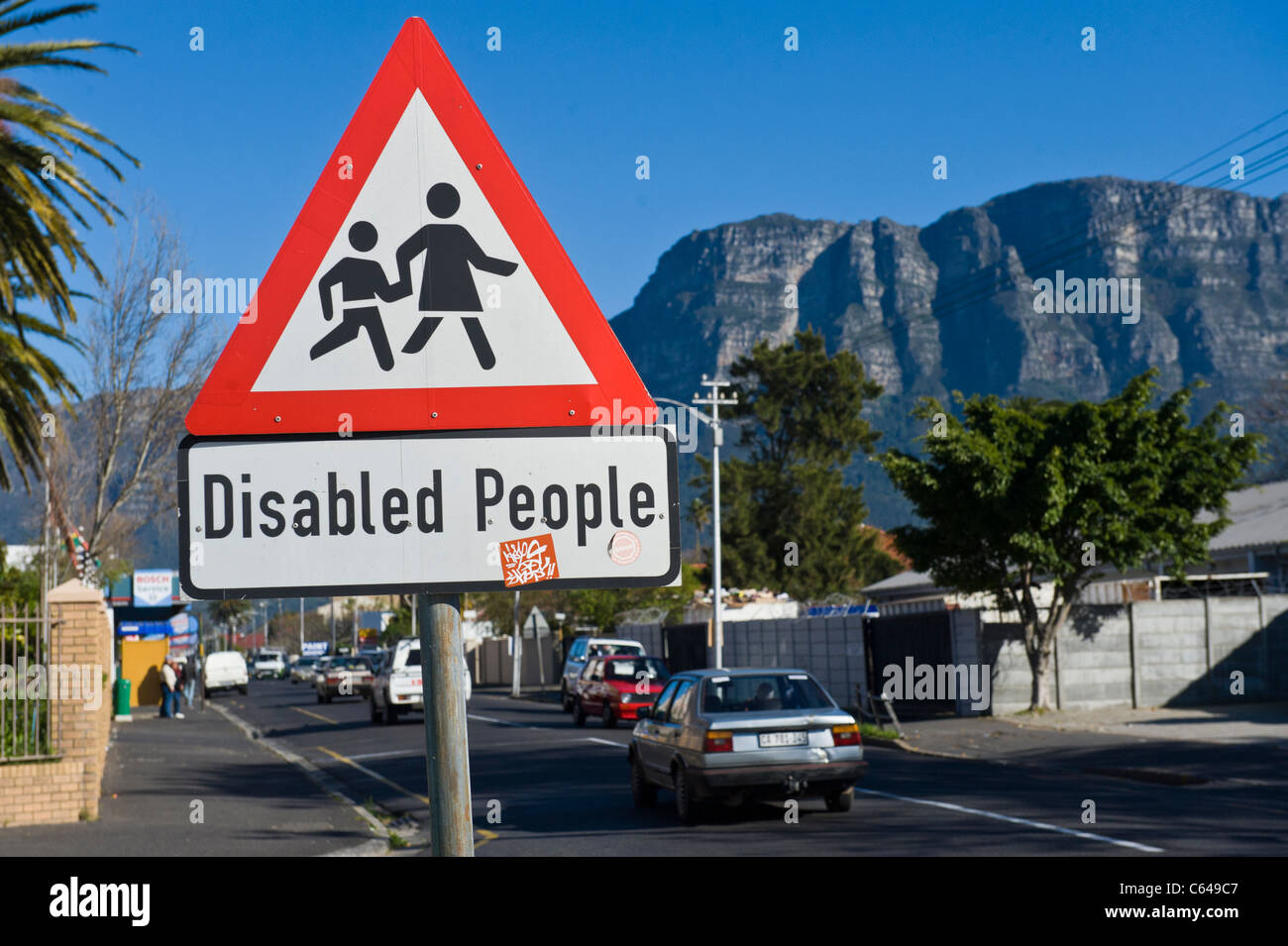 Traffic sign Disabled People Cape Town South Africa - Stock Image