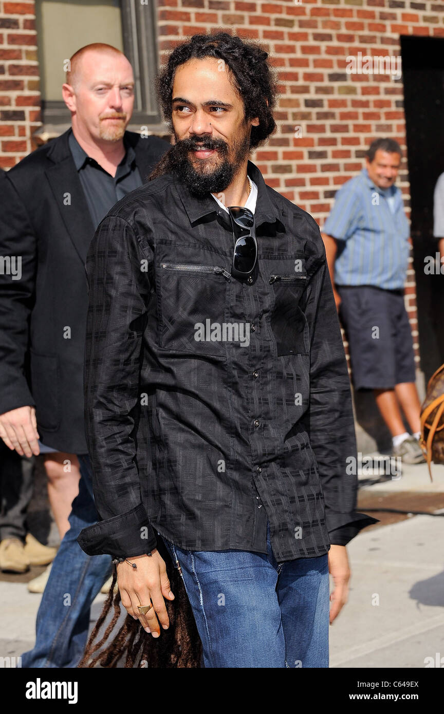 Singer Damian Marley, visits the 'Late Show With David Letterman' at the Ed Sullivan Theater out and about - Stock Image