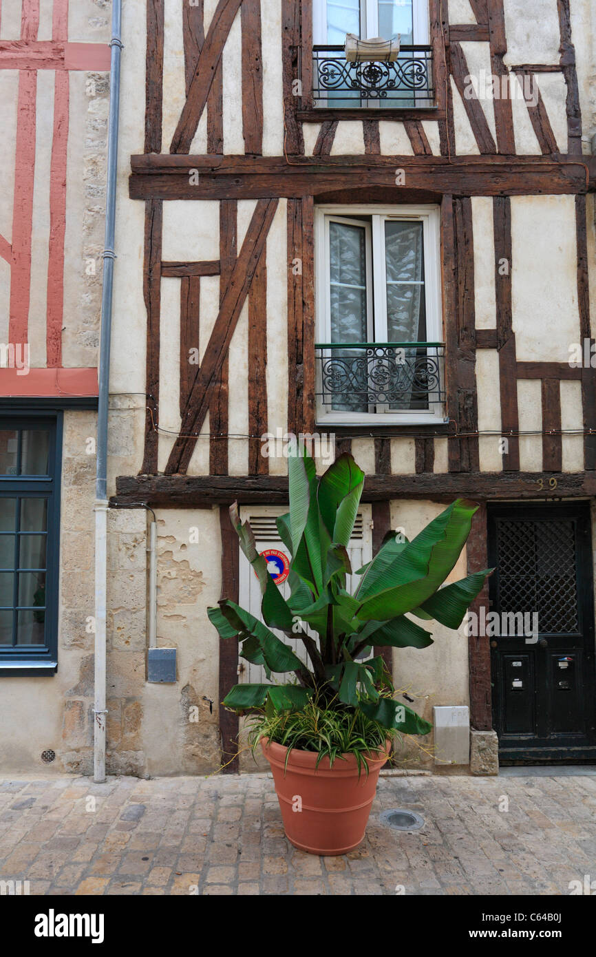 Half timbered buildings, Orleans, France. - Stock Image