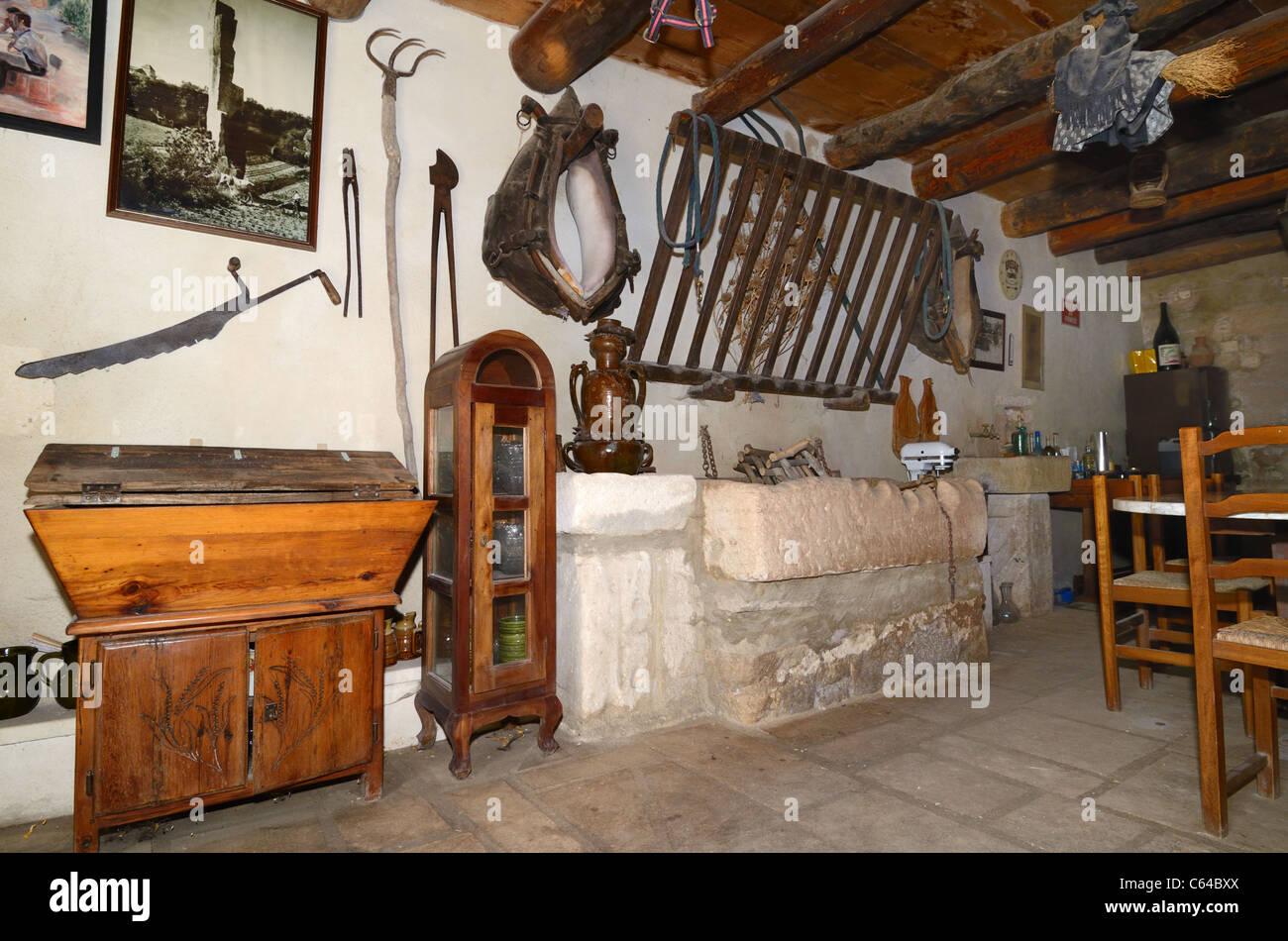 Interior of the Mas de la Pyramide, a Troglodyte Farmhouse, House or ...