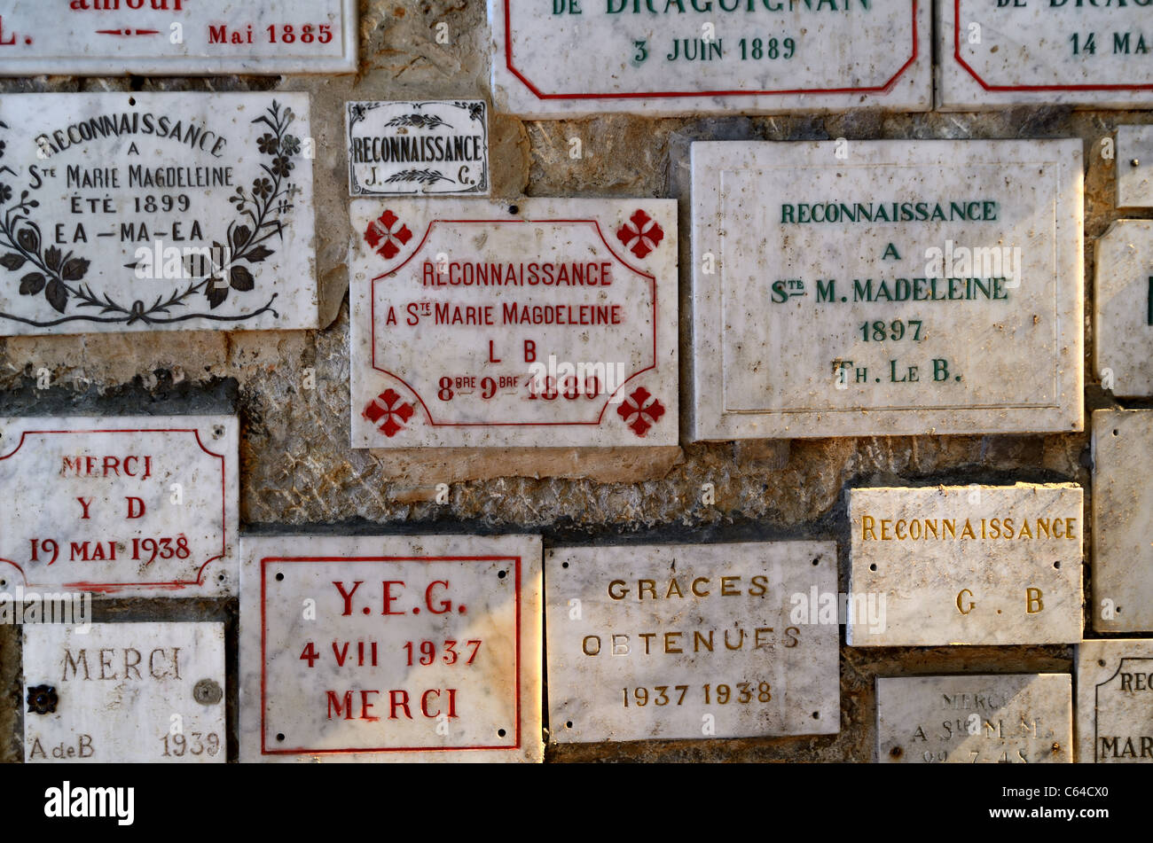 Ex Votos Inside the Mary Magdalene Holy Cave or Grotto,  Sainte-Baume Massif or Sainte Baume, Provence, France - Stock Image