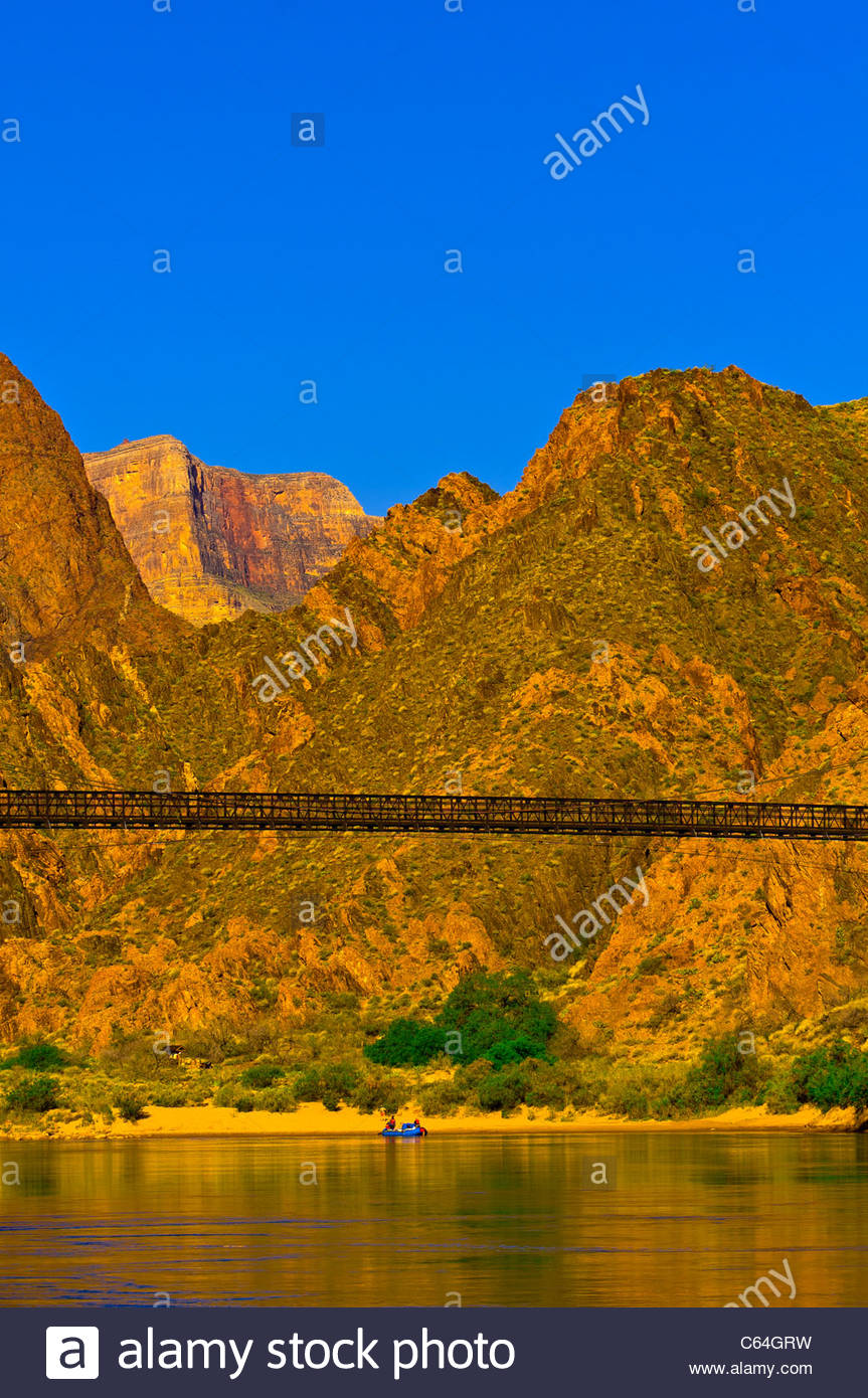 Kaibab Suspension Bridge, Whitewater rafting trip on the Colorado River in Grand Canyon, Grand Canyon National Park, - Stock Image