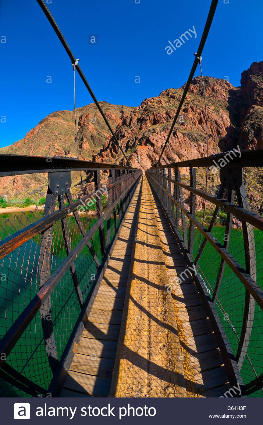 Kaibab Suspension Bridge, Colorado River in Grand Canyon, Grand Canyon National Park, Arizona USA - Stock Image