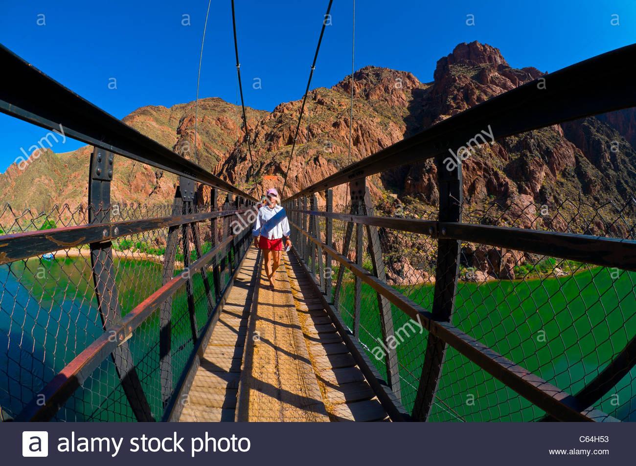Kaibab Suspension Bridge, Whitewater rafting trip, Colorado RIver, Grand Canyon National Park, Arizona USA - Stock Image